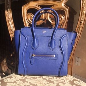 Celine micro luggage tote handbag in blue